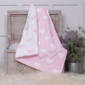 Ziggle Pink & White Hearts Personalised Chenille Baby Blanket