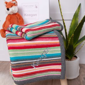 Ziggle Rainbow Stripe Cotton Knitted Personalised Baby Blanket