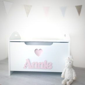 Personalised Heart White Toy Box