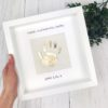 Fathers Day Gold Baby Handprint Personalised Frame