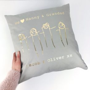 Personalised Child's Drawing Cushion for Grandparents