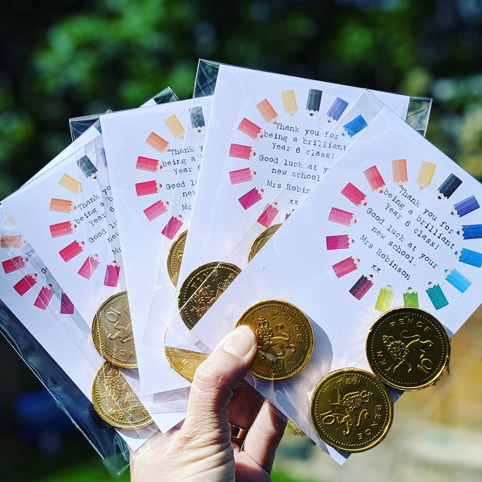 Personalised Chocolate Coin School Cards - Pack of 10