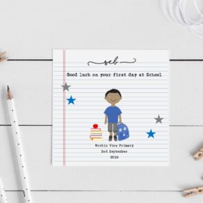 Personalised First Day At School Keepsake Card