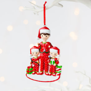Personalised Single Dad & Children Christmas Decoration