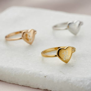Personalised Engraved Initial Heart Ring