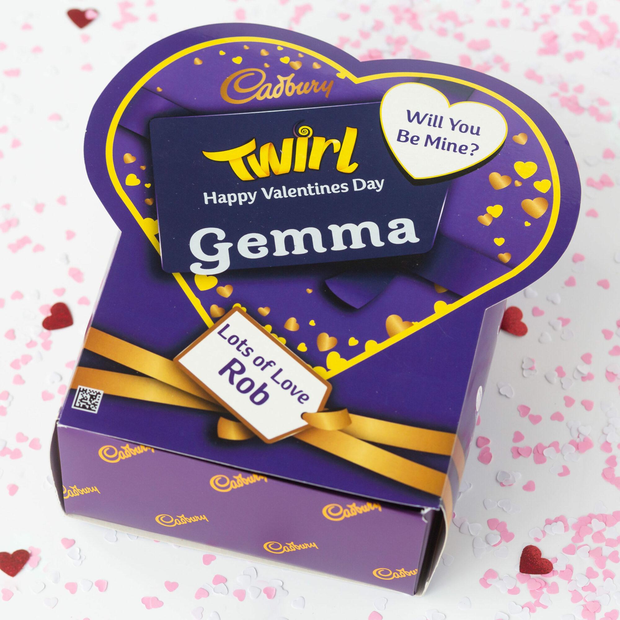 Personalised Valentine Cadbury Twirl Chocolate Bars x 20