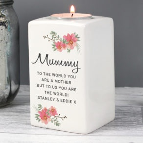 Personalised Floral Tea Light Candle Holder