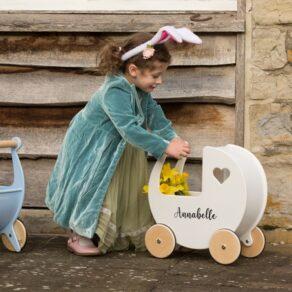 Personalised Kids White Wooden Push Along Pram