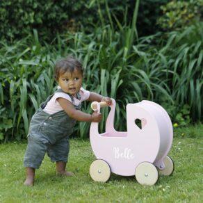 Personalised Kids Pink Wooden Push Along Pram