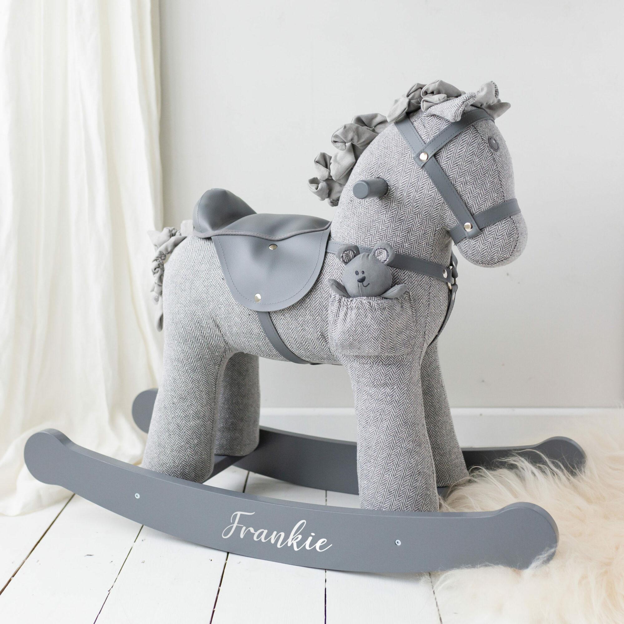 Sterling & Mac Grey Personalised Rocking Horse 12m+