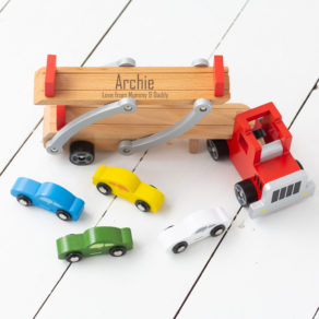Personalised Kids Wooden Car Transporter Toy Set