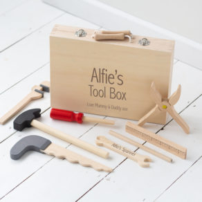 Personalised Kids Wooden Toolbox Toy Set
