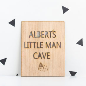 Personalised Wooden Little Man Cave Plaque