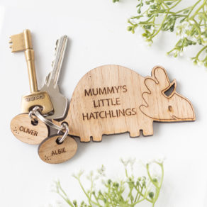 Personalised Wooden Family Dinosaur Keyring