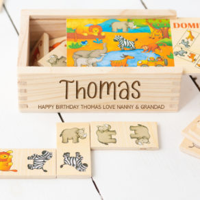 Personalised Safari Wooden Domino Toy Set