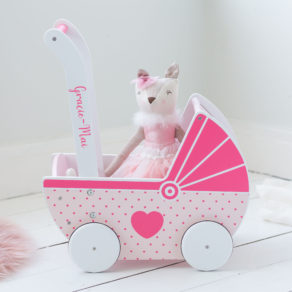 Personalised Wooden Push Along Pink & White Toy Pram