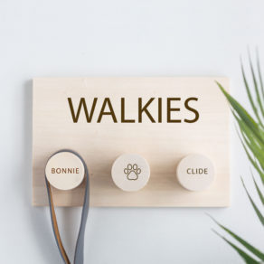 Personalised Walkies Dog Lead Hanger Plaque
