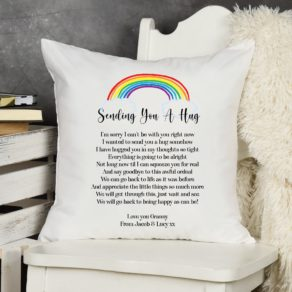 Sending A Hug Personalised Rainbow Cushion