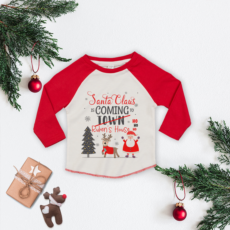 Personalised Santa Claus Baseball Tee
