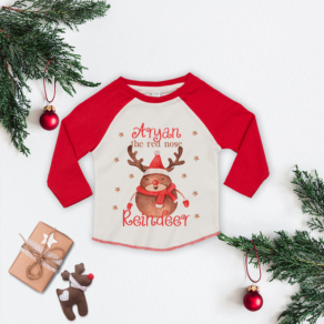 Personalised Red Nose Reindeer Baseball Tee