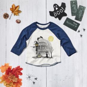Personalised Little Monster Halloween Baseball Tee