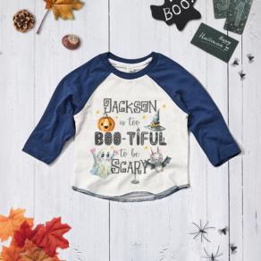 Personalised 'Too Boo-tiful' Halloween Baseball Tee