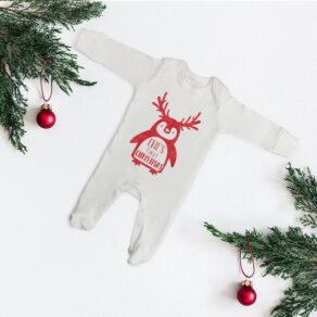 Personalised First Christmas Glitter Penguin Babygrow