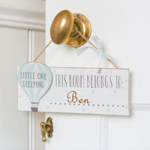 Personalised Wooden Blue Hot Air Balloon Room Plaque