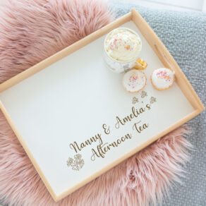 Personalised White Wooden Lap Tray