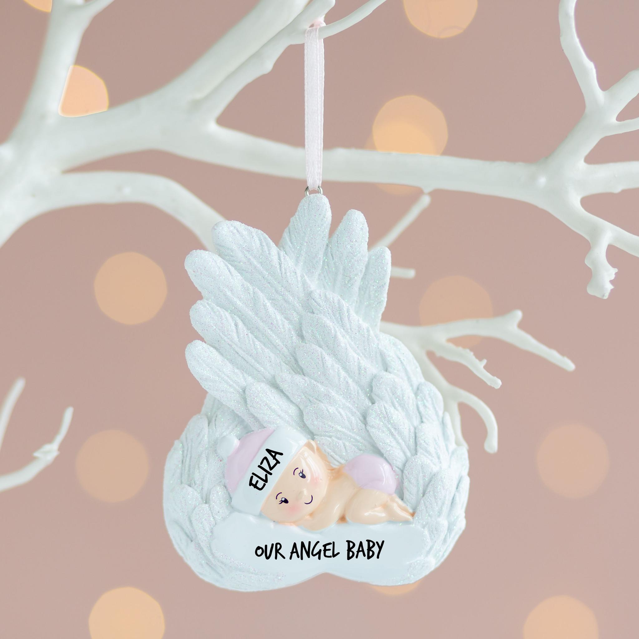 Personalised Angel Baby Girl Christmas Decoration