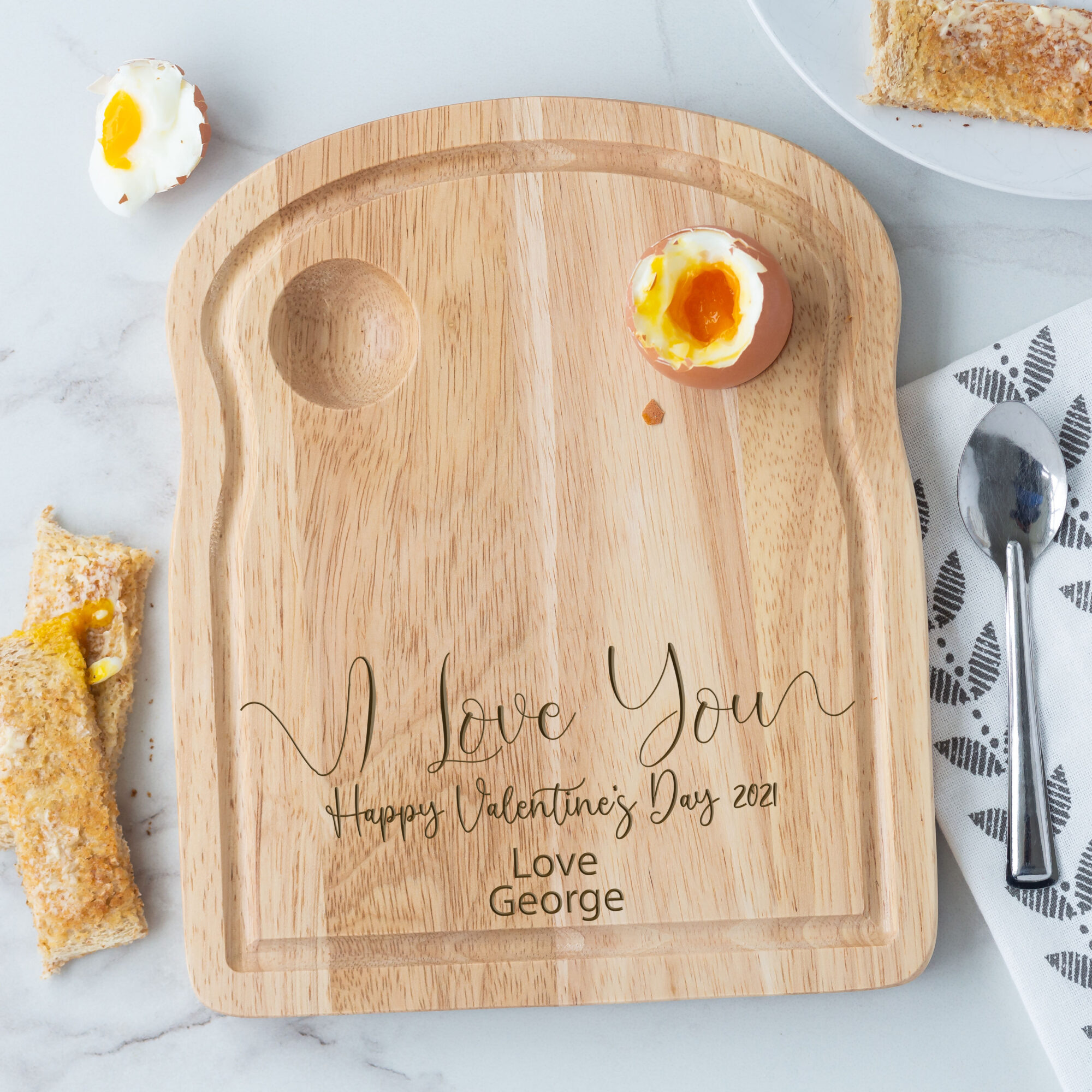 Personalised Wooden I Love You Breakfast Egg Board