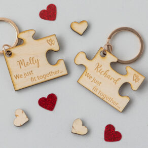 Personalised Wooden Puzzle Piece Key Ring Set