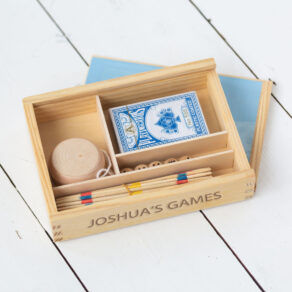 Personalised Wooden Vintage Bored 4 in 1 Game Set