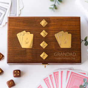 Personalised Wooden Card & Dice Game Set