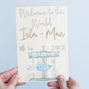 Personalised Wooden Welcome Baby Cut Out Plaque