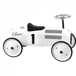 Personalised Metal White Classic Ride On Toy Car