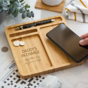 Personalised Bamboo Wireless Desk Tidy Phone Charger