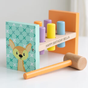 Personalised Kids Wooden Pastel Animal Hammer Bench Toy