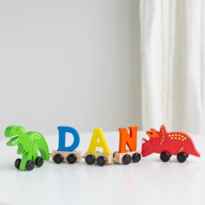 Dinosaur Wooden Pastel Letter Name Train