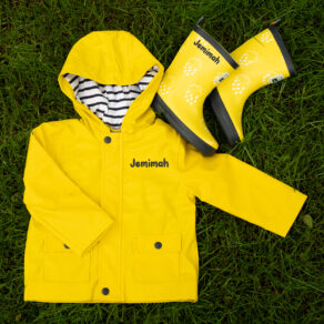 Personalised Baby & Toddler Yellow Raincoat and Welly Set