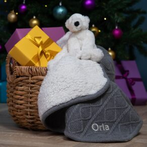 Ziggle Personalised Grey Sherpa Fleece Cable Baby Blanket and Jellycat Perry Polar Bear Gift Set
