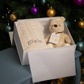 Toffee Moon Personalised Luxury Cable Baby Blanket and Winnie the Pooh Soft Toy