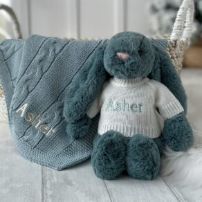 Personalised Toffee Moon Luxury Aqua Cable Baby Blanket and Forest Jellycat Bashful Bunny