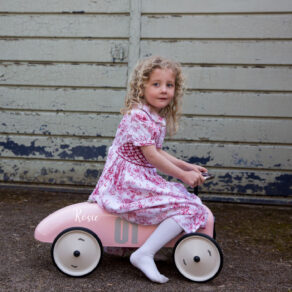 Personalised Metal Pink Classic Ride On Toy Car
