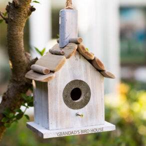 Personalised Contemporary Wooden Hanging Bird House