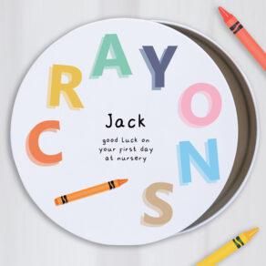 Personalised Kids Colourful Metal Round Crayon Tin