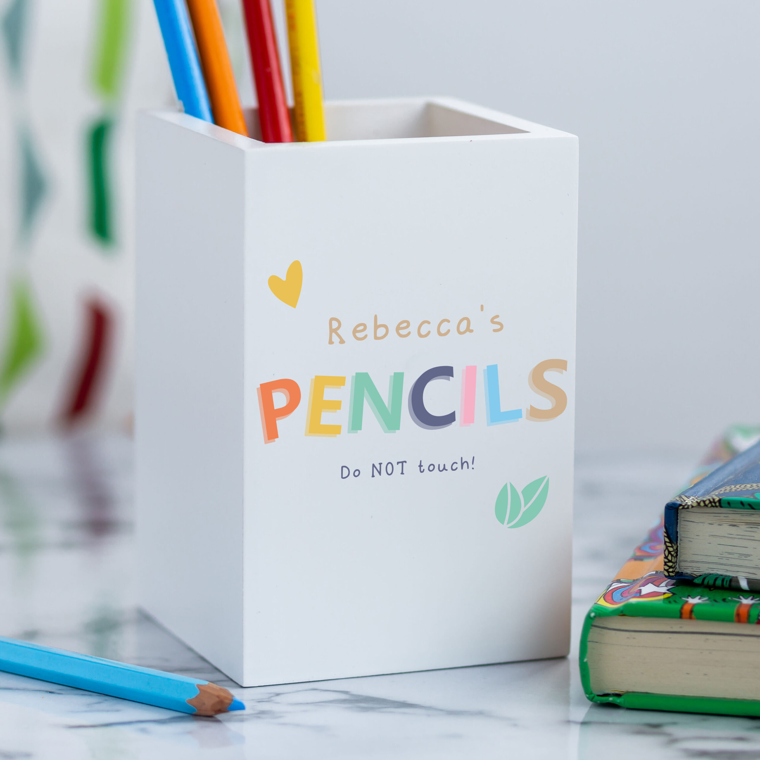 Personalised White Wooden Colourful Pencil Pot