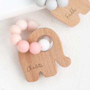 Bambino Eco-Friendly Wooden Pink Elephant Teething Toy