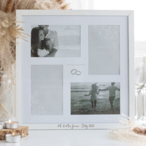 Personalised White Wooden Wedding Honeymoon Photo Frame