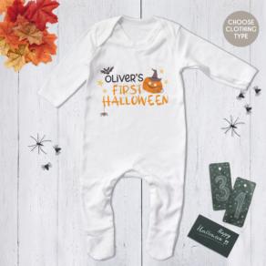 Personalised My First Halloween Pumpkin Bat Babygrow, Bodysuit, T Shirt